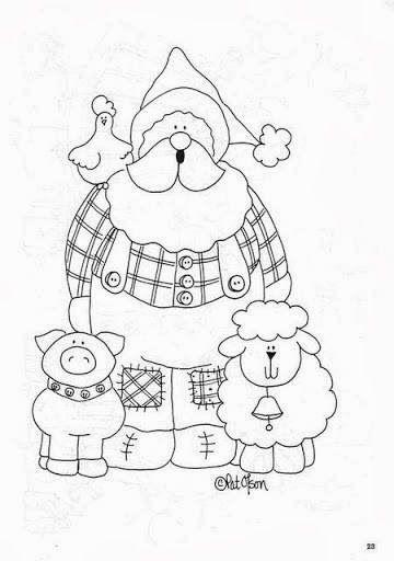 desenho papai noel fazendeiro para pintar | natal | Pinterest ...