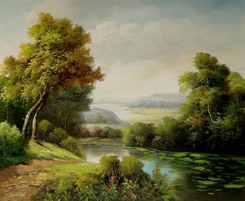 Landscape thomas moran painting pinterest popular for Oil painting scenery