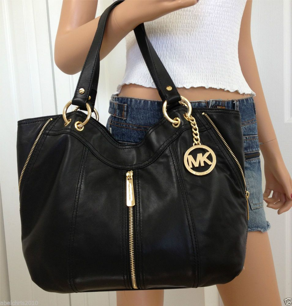 Michael Kors Black Moxley Medium Soft Leather Shoulder Tote Handbag Bag Purse Michaelkors Shoulderbag