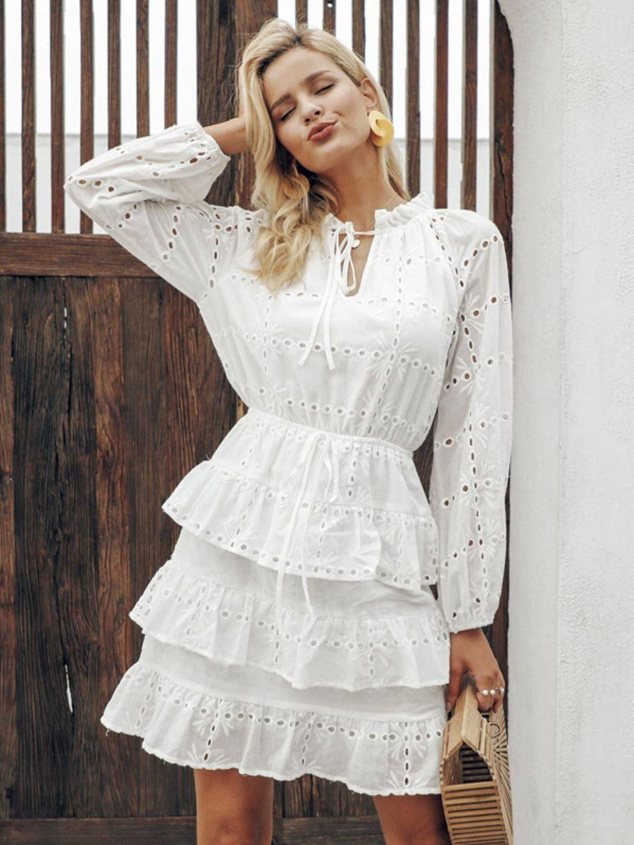 Elegant Hollow Out White Dress Women Summer Embroidery Ruffles Lace Up Dresses White L In 2021 Lace Up Bodycon Dress White Dresses For Women Womens Dresses [ 1200 x 900 Pixel ]