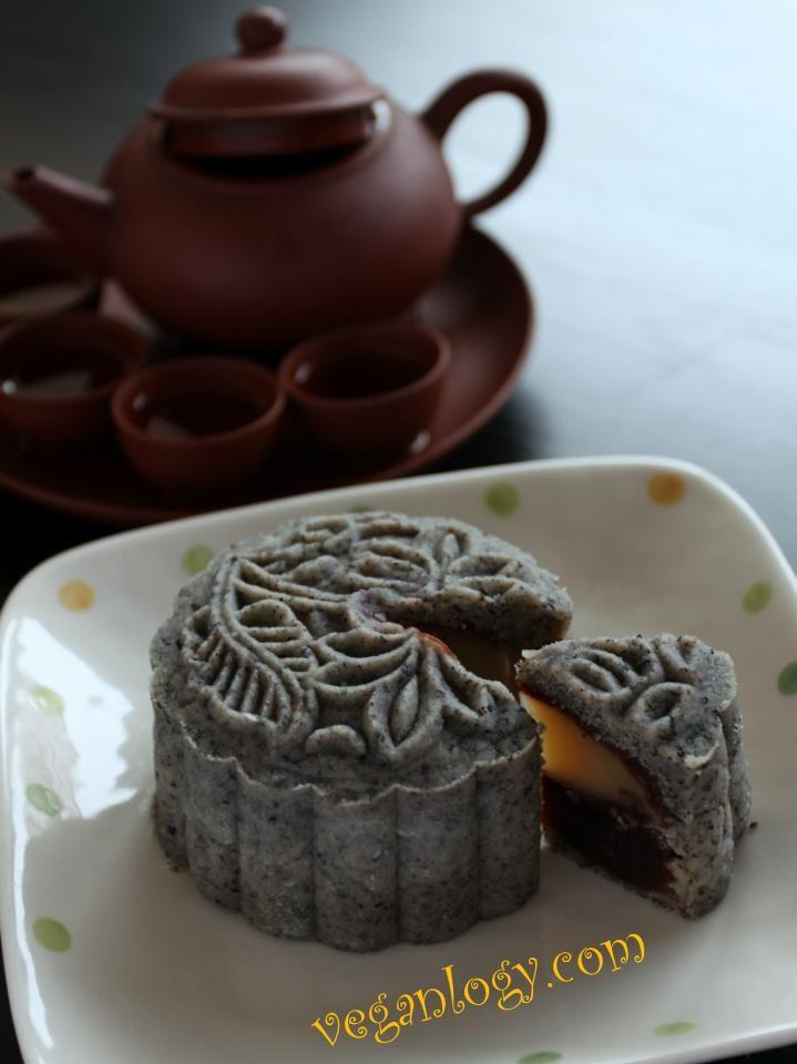 Black Sesame Snow Skin Vegan Mooncake with White Lotus and Red Bean ...