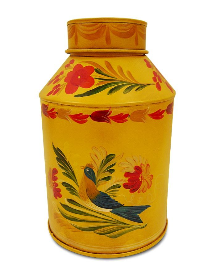 Restored yellow tea canister.