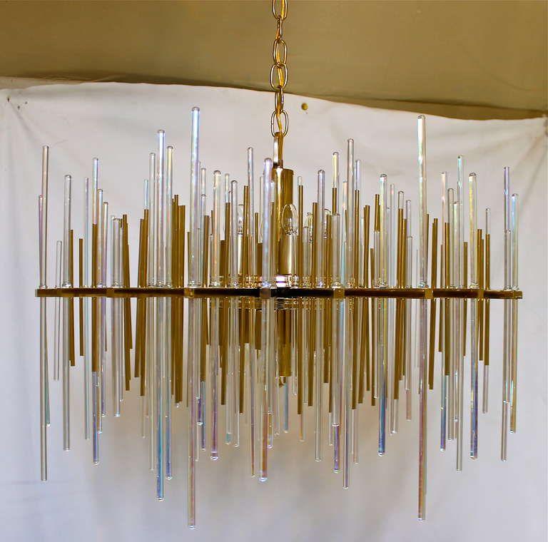 Rare sciolari italian irridescent glass rod chandelier pendant rare sciolari italian irridescent glass rod chandelier from a unique collection of antique and modern audiocablefo