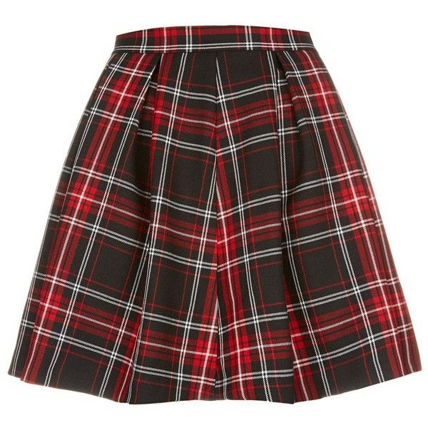 Red and Black Tartan Check Skater Skirt (£12) ❤ liked on Polyvore featuring skirts, bottoms, tartan plaid skirt, skater skirt, plaid circle skirt, plaid skater skirt and red and black skirt