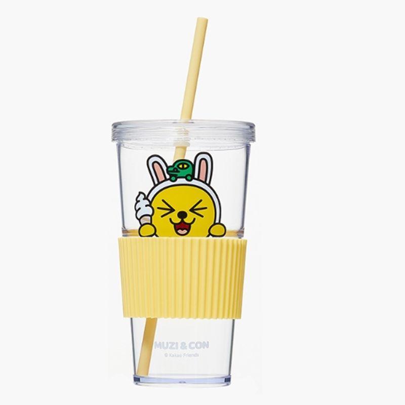 Kakao Friends Official Goods Straw Cold Cup Muzi Tumbler Mug Water Coffee Cup #KakaoFriends