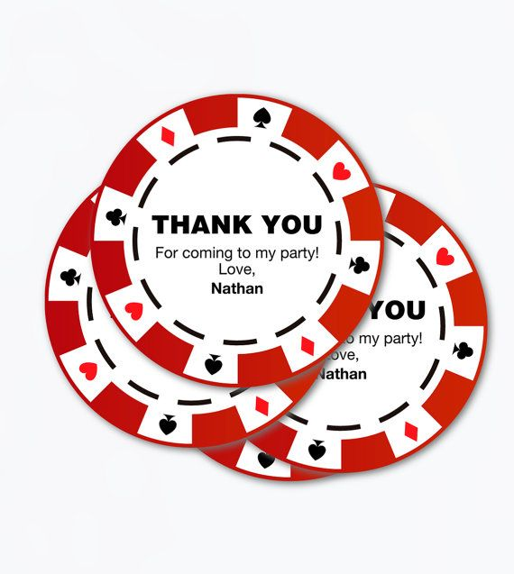 Poker Party Chips Printable Pdf Thank You Tags Favor Casino Labels Theme Ideas Men Birthday Gift Retirement Poker Party Casino Theme Parties Party Themes