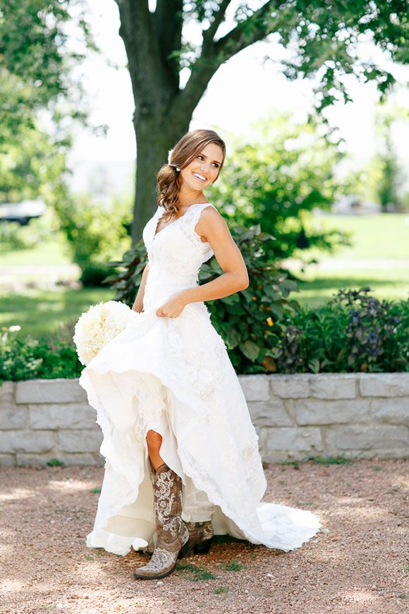 Brown Cowboy Boots With A Wedding Dress Country Style Dresses Cow