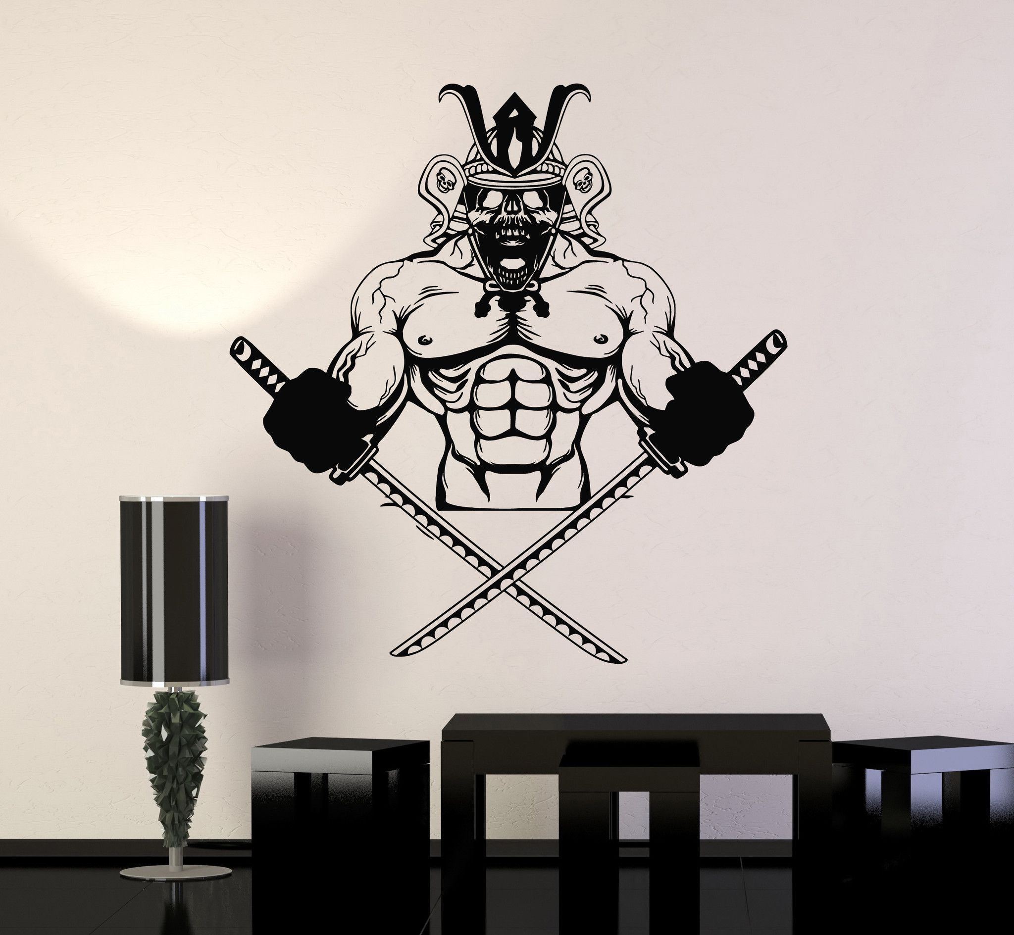 Vinyl wall decal samurai skull katana asian warrior stickers murals ig4737 vinyl wall decals