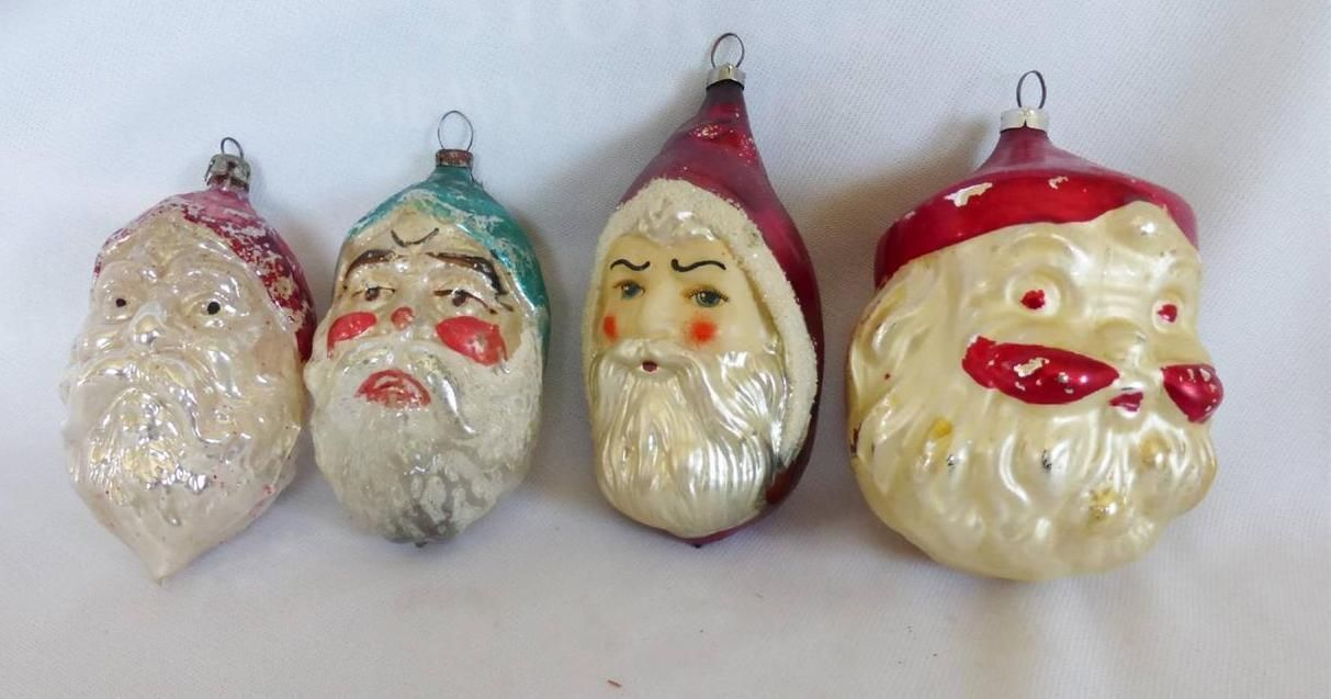 4 Antique Mercury Glass Besnickle Santa Claus Christmas Tree Ornaments Ebay Antique Christmas Ornaments Christmas Tree Ornaments Christmas Ornaments