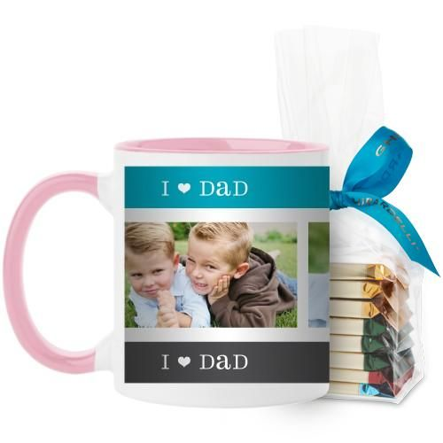 I Heart Dad Mug, Pink, with Ghirardelli Assorted Squares, 11 oz, Blue