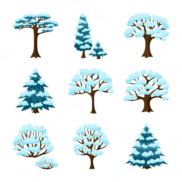 Set of winter stylized trees. by incomible on Creative Market