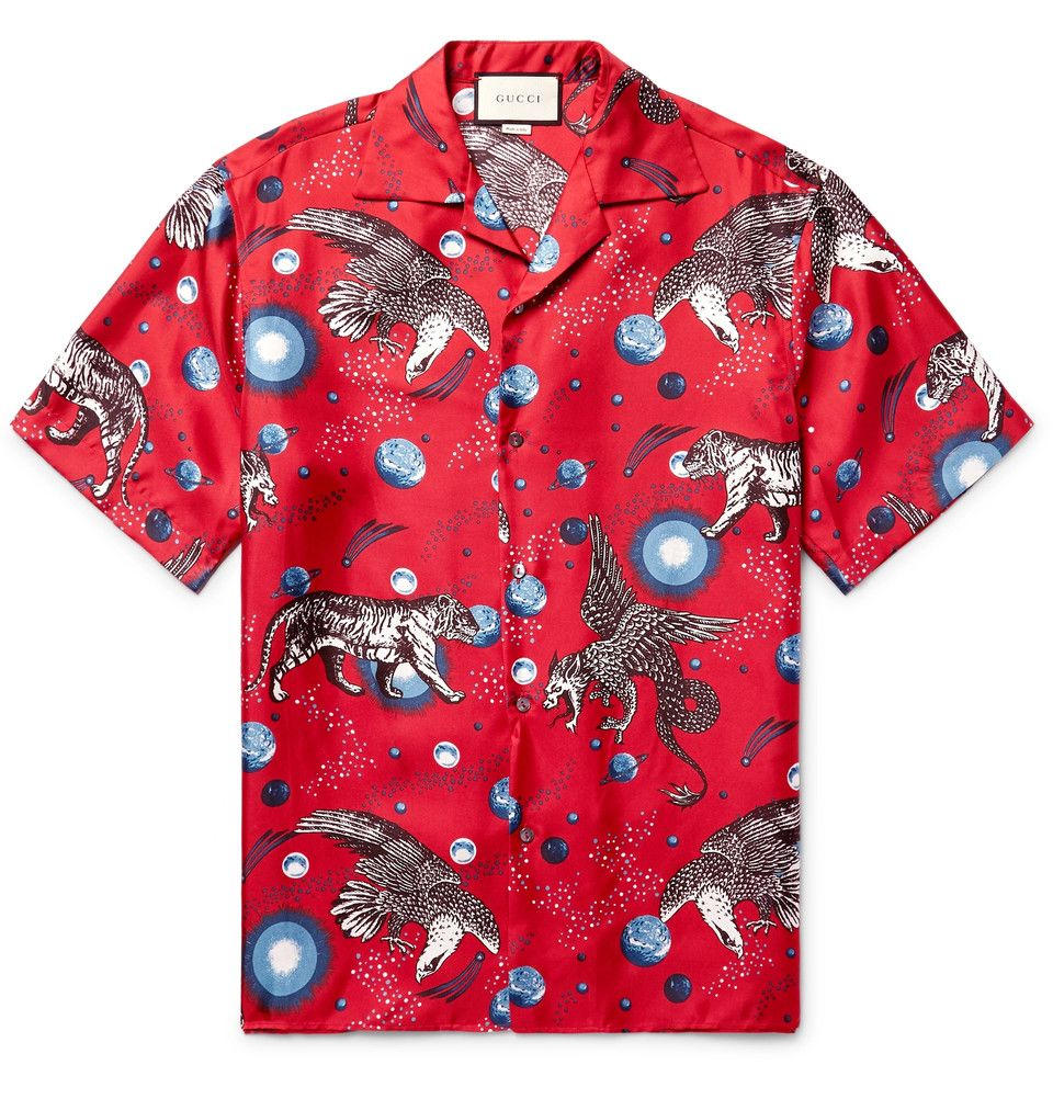787851d37 Gucci - Space Animals Camp-Collar Printed Silk-Twill Shirt | Men's ...