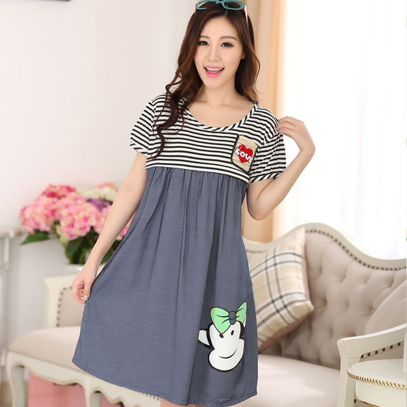 Pajamas Nursing Breast Feeding Nightgown Clothes Cotton Cartoon ...