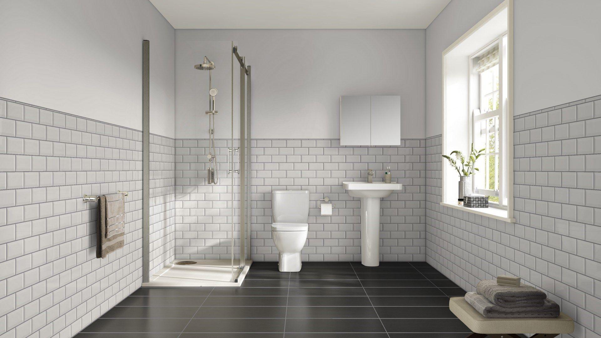 Mini Bevell Black Matt Floor Tiles Grey Grout Bathroom Tile