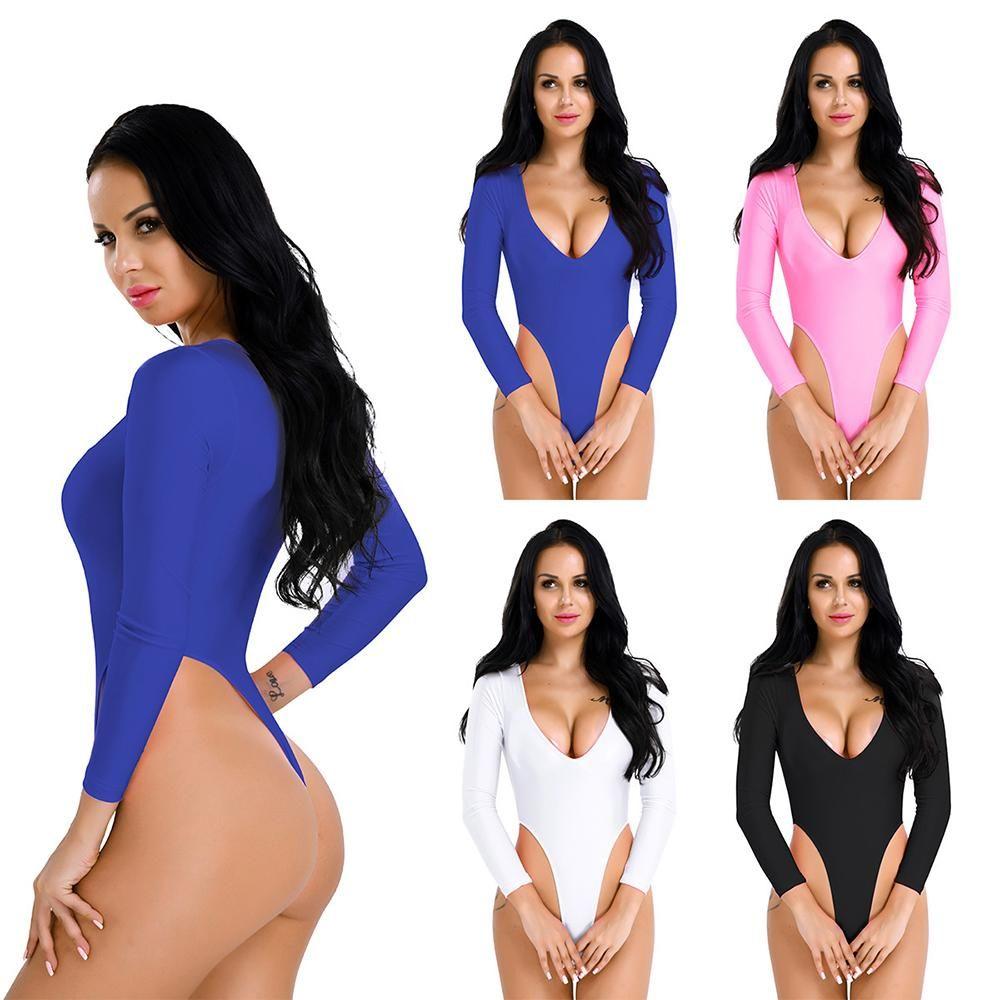 New Women Long Sleeve Bodysuit Stretch Ladies Leotard Body Tops Jumpsuit Thong