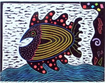 Linocut Hand Pulled My Happy Fish Colored Print Printmaking