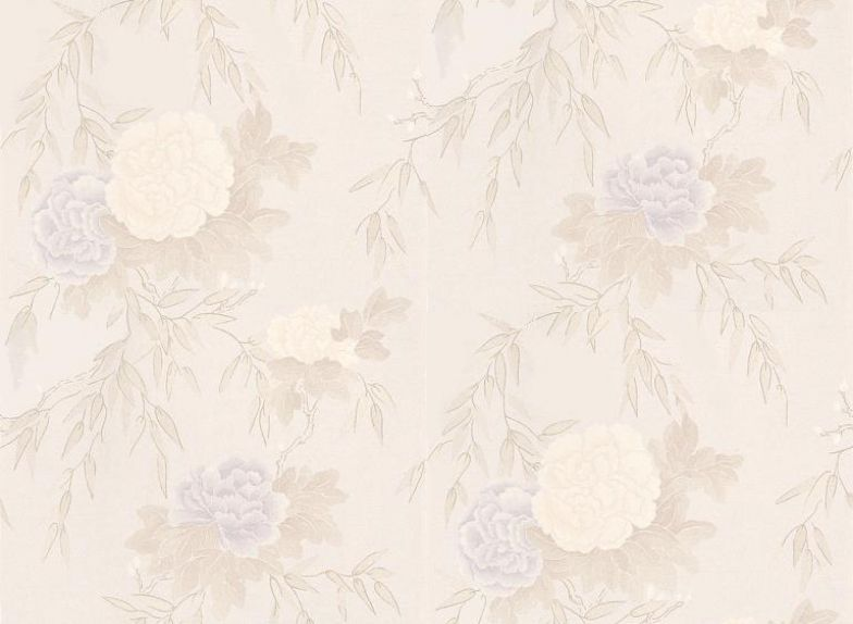 Hana (75905) - Harlequin Wallpapers - Camellia blooms overlaid on willow leaf branches – a beautiful Japanese inspired design. Available in 6 colours – shown in lilac, cream and grey on the palest pink. Please ask for sample for true colour match.