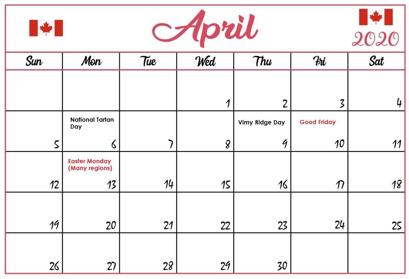 April 2020 Holidays Calendar in 2020 Holiday calendar