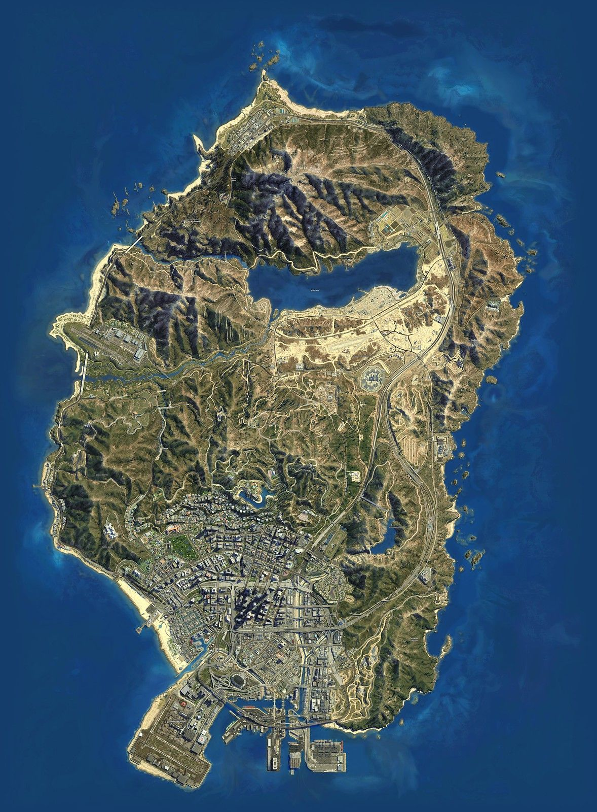 Los Santos Gta V Map Large In 2021 Gta Psychedelic Illustration Grand Theft Auto Games