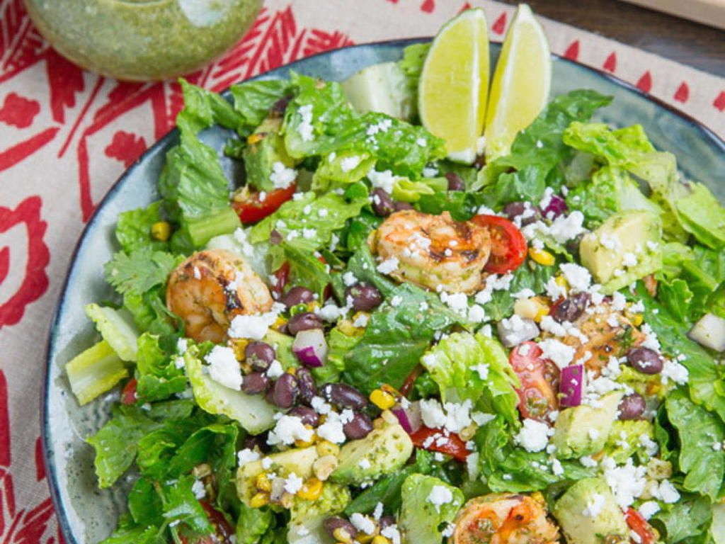 Chipotle lime grilled shrimp salad in cilantro lime
