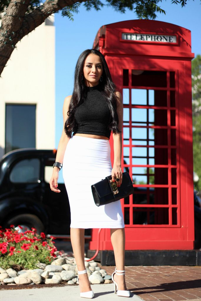 c26534888 Black & white: crop top and high waisted skirt | Playing Dress Up ...