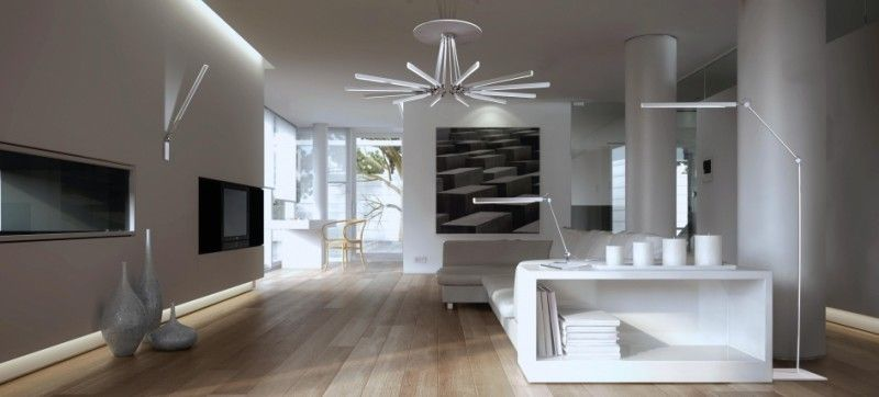 strak wit interieur met lichtplan - ♥ Lampen   Pinterest ...