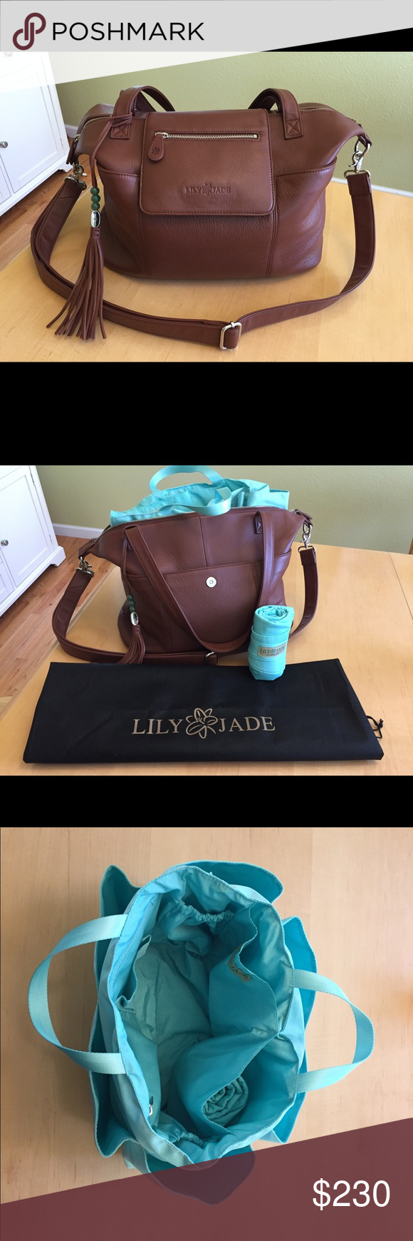 509e46197010 Lily Jade Madeline in Brandy Diaper Bag Beautiful bag! Very gently used and  in excellent condition! - Silver hardware - Converts to backpack -  Removable and ...