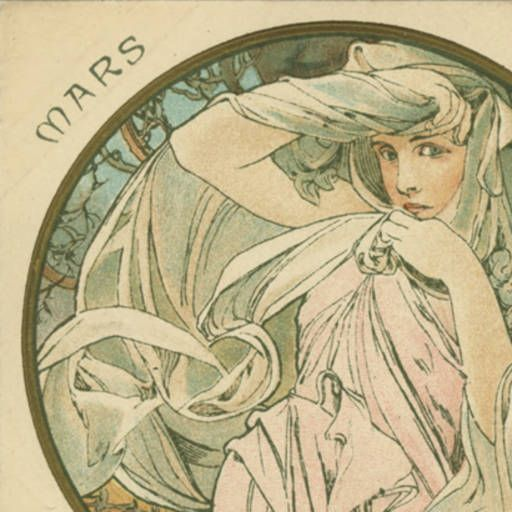 """Months of the Year"" Series by Alphonse Mucha. JH389 (1-12) :: Mars, March"