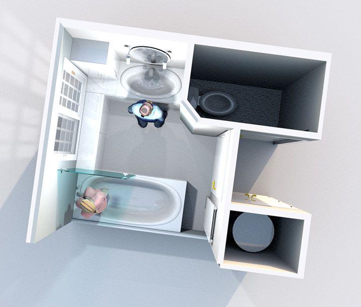 Aménagement d'une salle de bain et de toilettes - Perspective vue de dessus réalisée avec le logiciel Sweet Home 3D de l'idée n°2