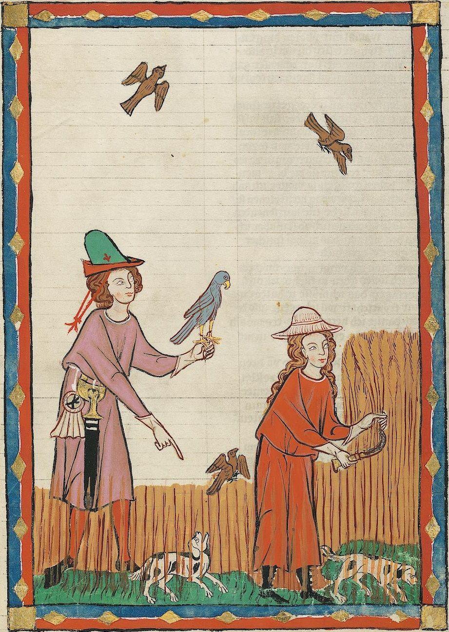 14th century (ca. 1300-1340) Switzerland - Zürich Universitätsbibliothek Heidelberg Cod. Pal. germ. 848: Große Heidelberger Liederhandschrift (Codex Manesse) fol. 394r - Kunz von Rosenheim
