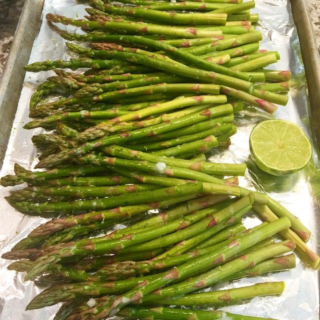"""""""Side dish with dinner.  Coconut lime roasted asparagus.  Squeeze a lime over your asparagus, drizzle some coconut oil and then sprinkle the zest of the…"""""""