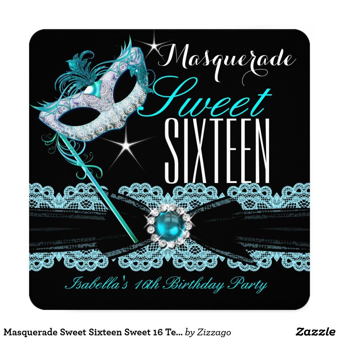 Masquerade Sweet Sixteen Sweet 16 Teal Blue 2 MASQUERADE SWEET
