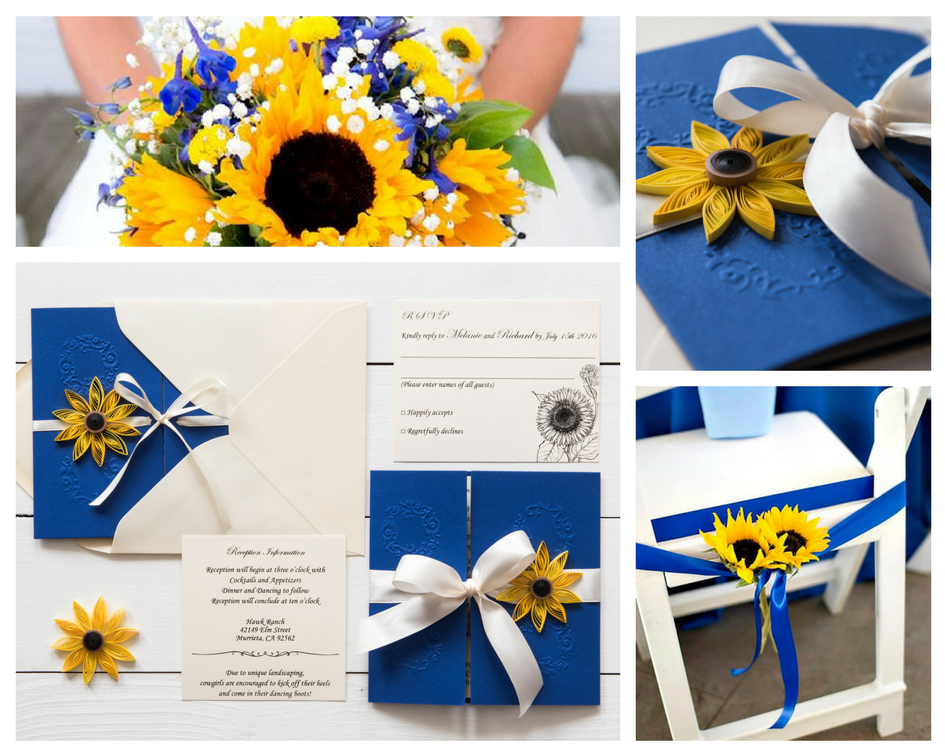 Cobalt Blue Wedding Invitations: Sunflower And Cobalt Blue Wedding Invitation / Cobalt Blue