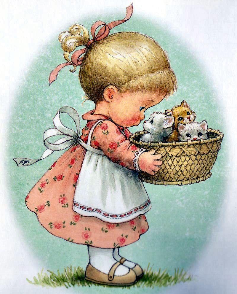 Girl with kittens ilus sarah kay decoupage desenhos - Papel decoupage infantil ...