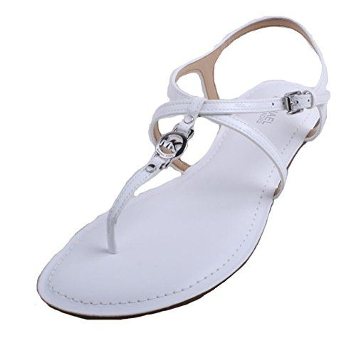 9b776b4dfb6 MICHAEL Michael Kors Womens Bethany Optic White Flat Strappy Sandals 65 BM  US Women -- This is an Amazon Affiliate link. You can get more details by  ...