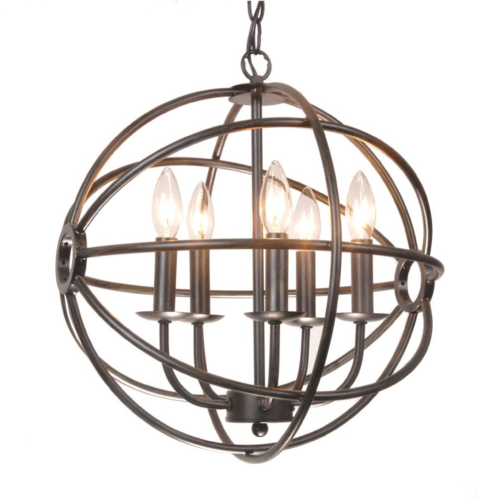 Benita 5 light antique bronze metal strap globe chandelier benita 5 light antique bronze metal strap globe chandelier overstock shopping great arubaitofo Images