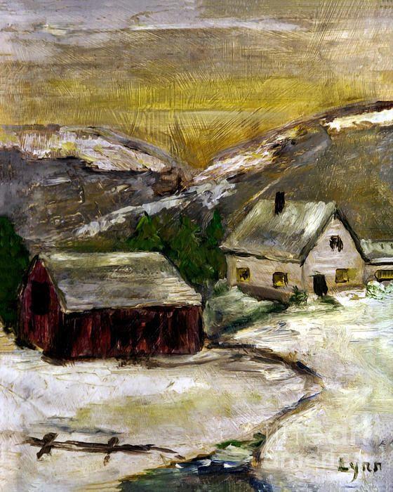 Snowy Farm with Red Barn