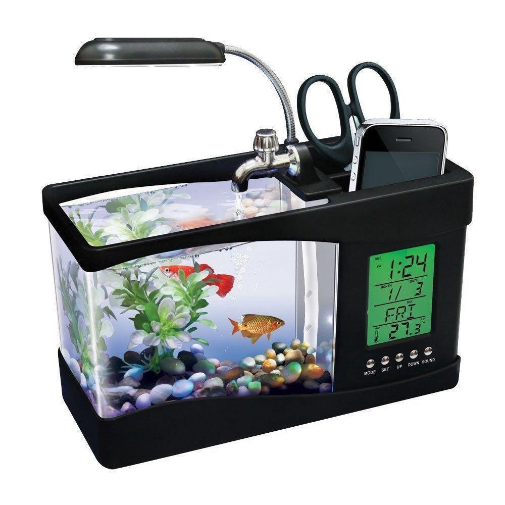 Usb mini aquarium fish tank with colorful light - Mini Usb Desktop Aquarium Lcd Display Fish Tank Clock Led Lamp Light Black White In Pet