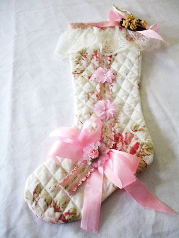 Christmas stocking shabby chic pink quilted lace ribbons flowers beach cottage chic botas - Navidad shabby chic ...