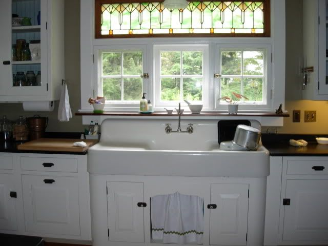 Amazing Sink Stained Glass Transom With Sweet Little Casement