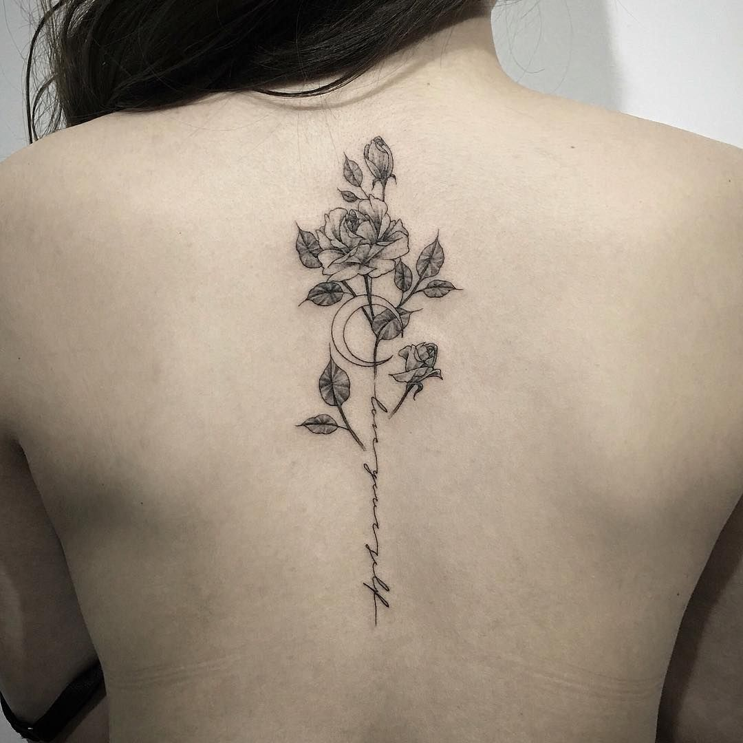 concept - incorporating flowers into moon phases tattoo