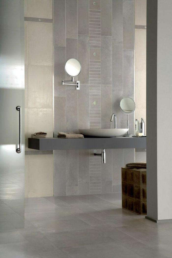 Moderne Badfliesen In Grauer Farbe, Minimalistisches Design Mit Kleinen  Runden Spiegeln