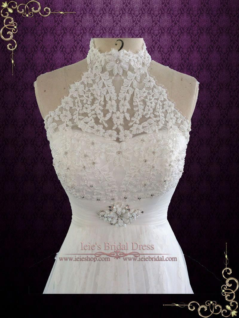 411b283dab33 European designer style lace wedding dress, featuring lace halter neckline  and elegant mermaid skirt, overlayed with an illusion A-line skirt,  accented with ...