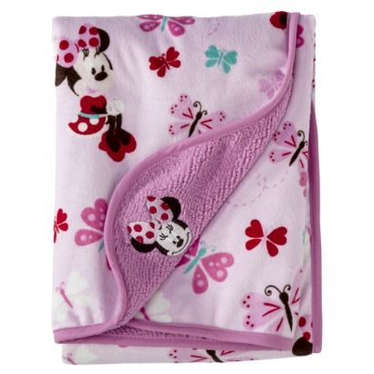 Disney Minnie Mouse Velour Sherpa Blanket Baby Girl