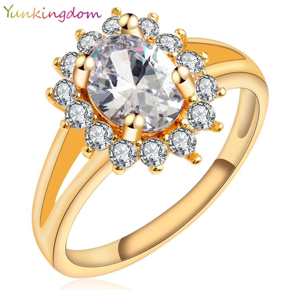 Yunkingdom Noble Princess Style Gold Plated Ring White