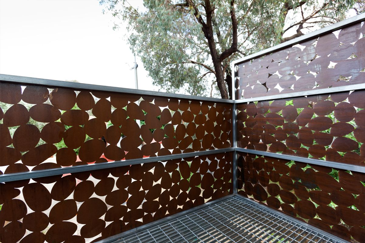 Pebbles laser cut metal screening creates privacy in