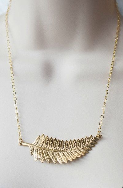 Gold fern necklace, leaf pendant necklace, delicate gold chain