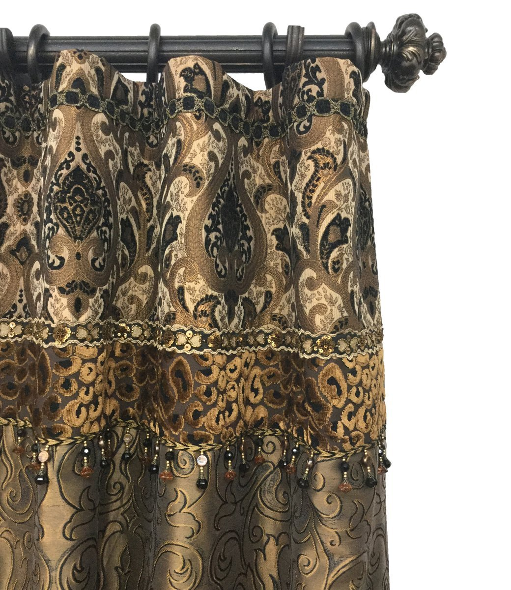 Luxury Curtain Panel Style 7 With Band Shown In Renaissance Reilly Chance Collection Luxury Curtains Tuscan Bathroom Decor Luxury Drapery