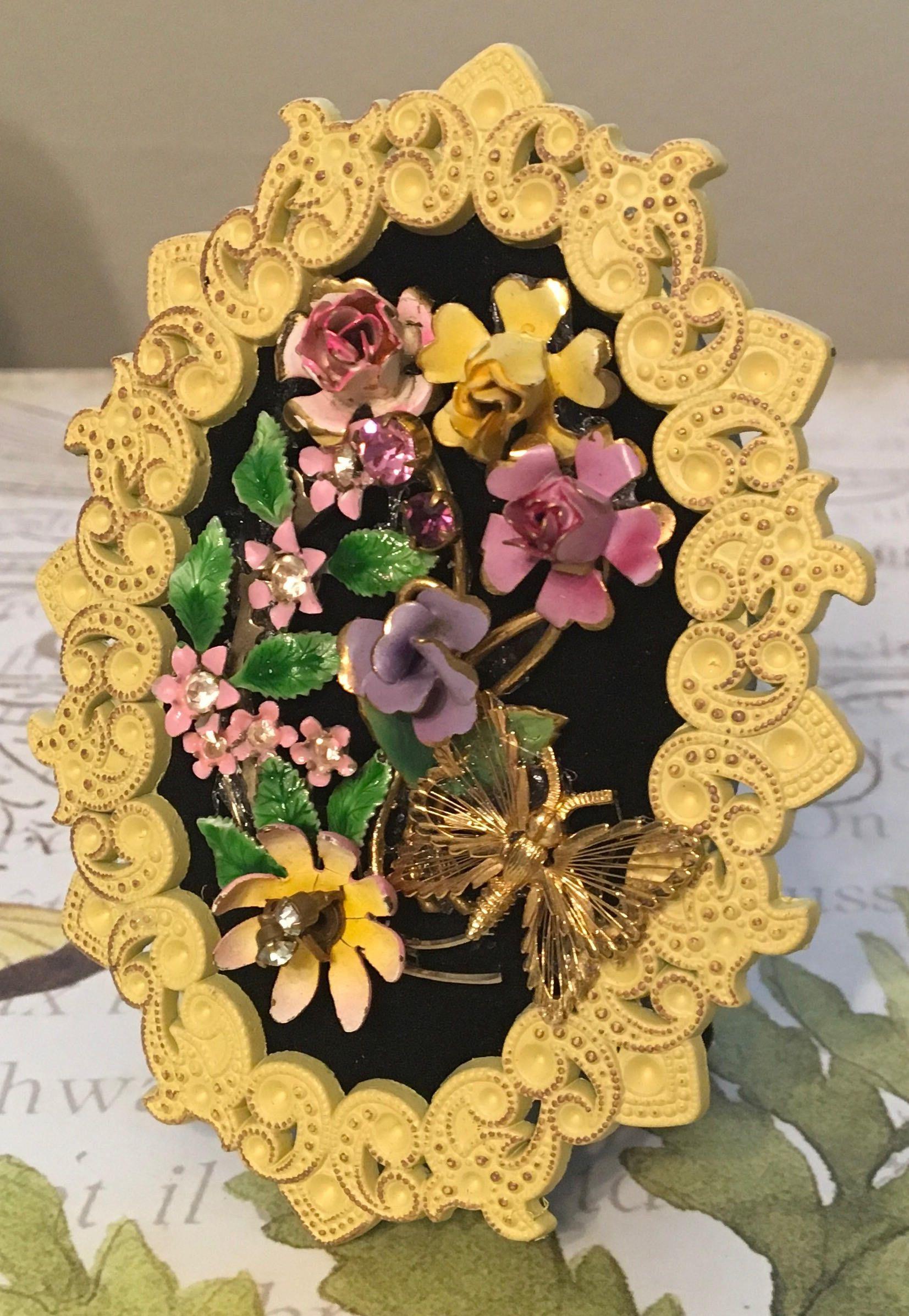 Mini Vintage Jewelry Flower Bouquet Art Collage Picture Future