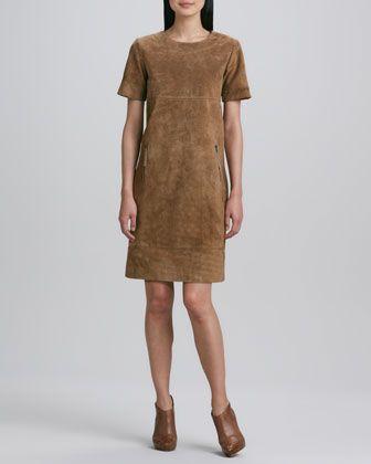 Suede+Zip-Pocket+Shift+Dress+by+Neiman+Marcus+at+Neiman+Marcus.